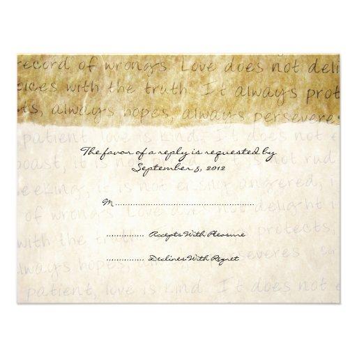 Love Is Patient Vintage Wedding RSVP 425x55 Paper Invitation Card