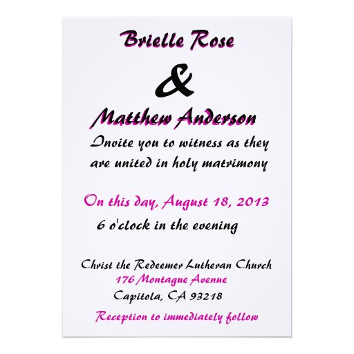 Love Is Patient Wedding Invitation 5 X 7 Invitation Card