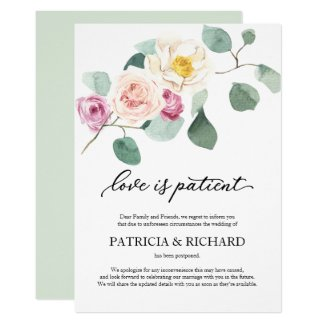 Love Is Patient Wedding Postponement Eucalyptus Invitation