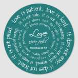 Love is Patient White on Teal Christian Wedding Classic Round Sticker