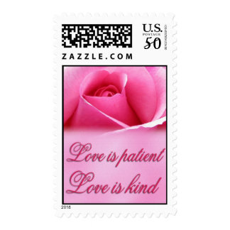 Love is patient ... with single pink rose postage