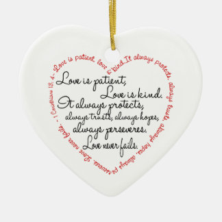 Love Is Patient Word Heart Double-Sided Heart Ceramic Christmas Ornament