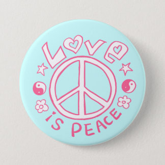Love is Peace- Pink/ Sky Button