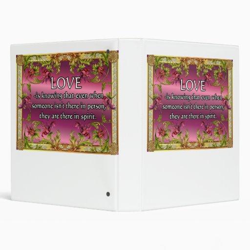 Love is.....poem on purple back with flower frame 3 ring binders