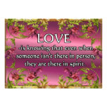 Love is.....poem on purple back with flower frame custom announcement