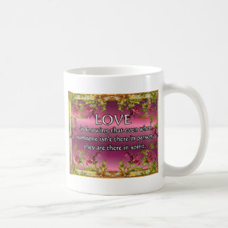 Love is.....poem on purple back with flower frame classic white coffee mug