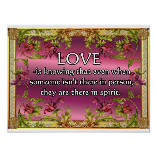 Love is.....poem on purple back with flower frame posters