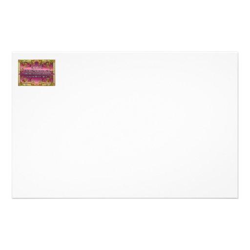 Love is.....poem on purple back with flower frame custom stationery