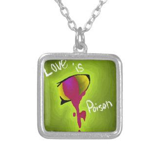 Love is poison square pendant necklace