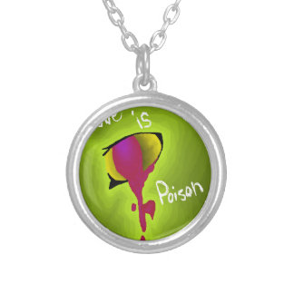 Love is poison round pendant necklace