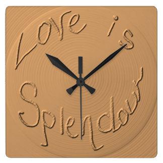 """Love is Splendour"" Gold Relief >Wall Clocks"