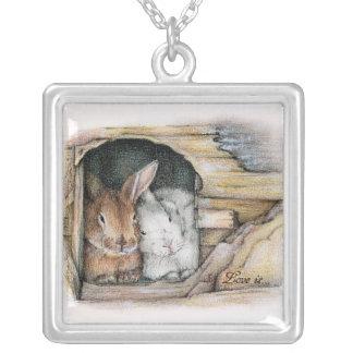 Love is... square pendant necklace