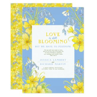 Love is still blooming spring postponed wedding invitation