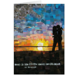 """love is..."" sunset silhouette lovers card"