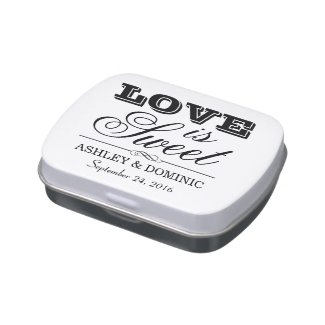 Love is Sweet | Black Wedding Monogram Jelly Belly Candy Tin