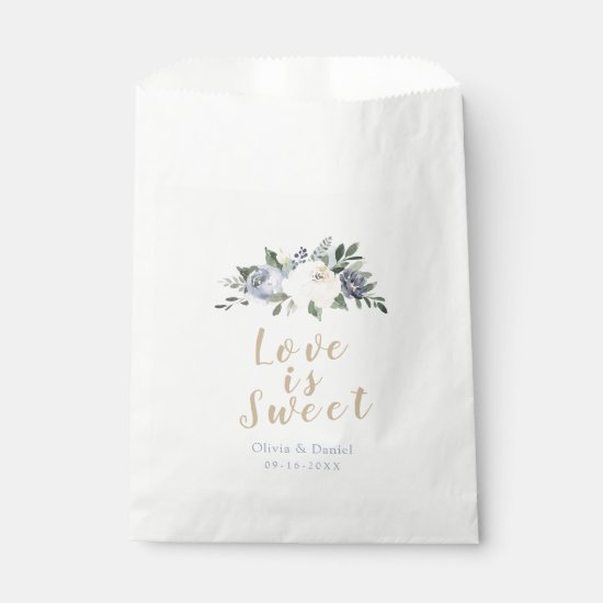 Love is sweet Blooming botanical dusty blue floral Favor Bag