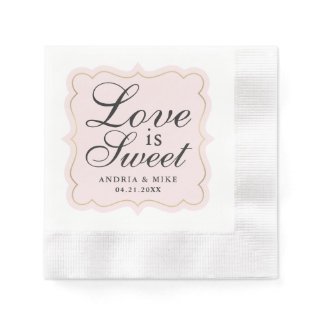 Love is Sweet | Blush Pink Monogram Napkin