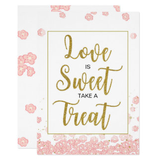 Love is Sweet Bridal Shower Sign | Pink and Gold Card