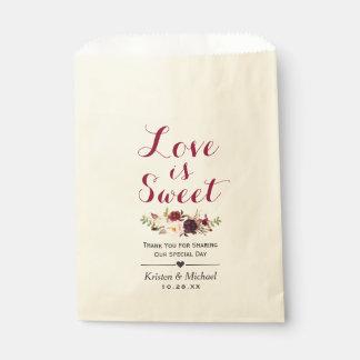 Love is Sweet Burgundy Floral Wedding Favor Favor Bag