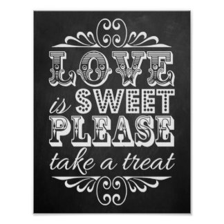 Love Is Sweet - Chalkboard Wedding Sign