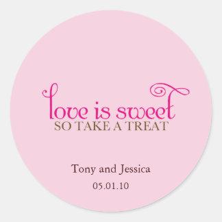 love is sweet classic round sticker