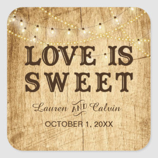 Love is Sweet country wedding favor sticker