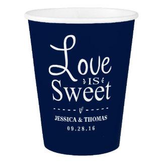 Love Is Sweet! Custom Navy Blue Wedding Paper Cup
