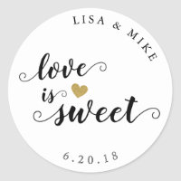 Love is Sweet Custom Script Wedding Favor Classic Round Sticker