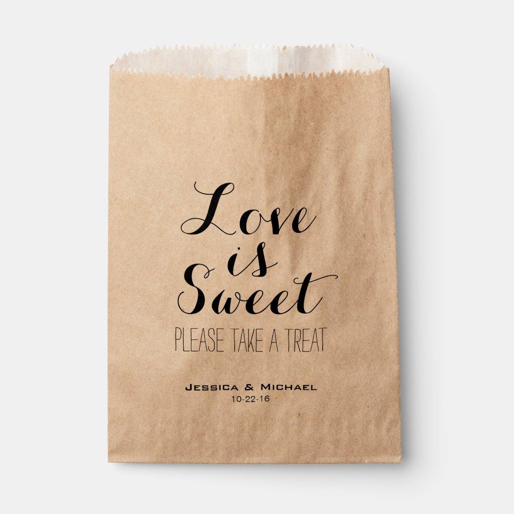 Love is sweet custom wedding candy buffet favor favor bag