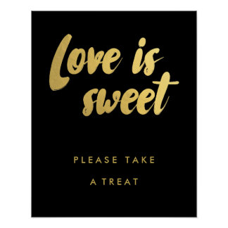 Love is sweet favors gold sign | editable color