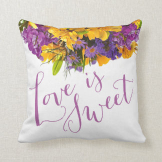 Love is Sweet Floral Bouquet | yellow purple Throw Pillows
