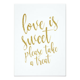 Love is Sweet Gold Glitter Affordable Wedding Sign Card