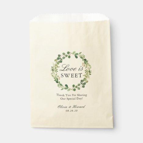 Love is Sweet Greenery Foliage Wreath Wedding Favor Bag
