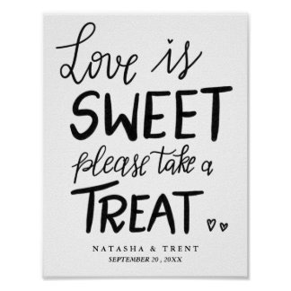 Love Is Sweet Handwritten Casual Wedding Poster