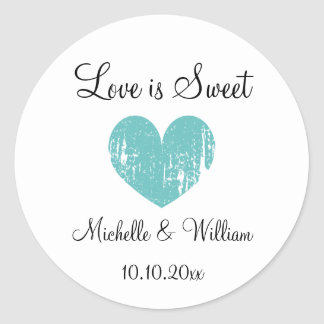 Love is sweet heart custom DIY wedding party favor Classic Round Sticker