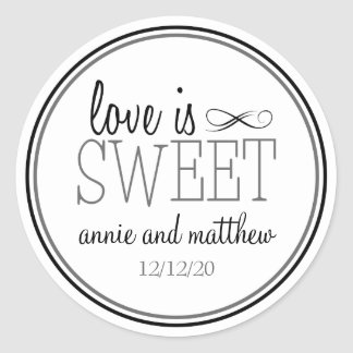 Love Is Sweet Labels (Black / Gray) Classic Round Sticker