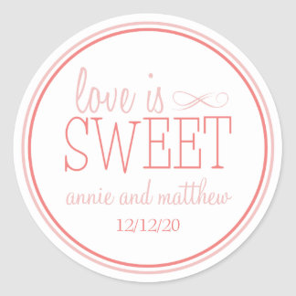 Love Is Sweet Labels (Blush / Terra Cota) Classic Round Sticker