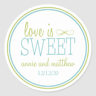 Love Is Sweet Labels (Chartreuse / Teal)