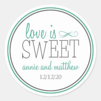 Love Is Sweet Labels (Dark Green / Gray) Classic Round Sticker