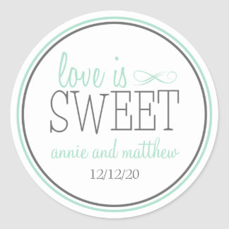 Love Is Sweet Labels (Green / Gray) Classic Round Sticker