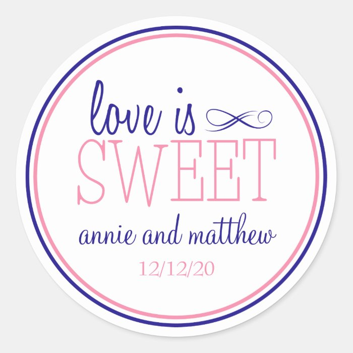 Love Is Sweet Labels (Navy Blue / Pink) Classic Round Sticker