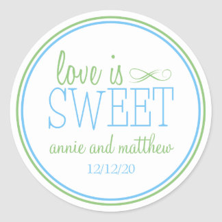 Love Is Sweet Labels (Pale Blue / Mint Green) Classic Round Sticker