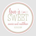 Love Is Sweet Labels (Pale Red / Olive Green) Round Sticker