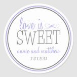 Love Is Sweet Labels (Purple / Gray) Classic Round Sticker