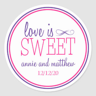 Love Is Sweet Labels (Purple / Magenta) Classic Round Sticker