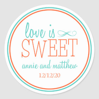 Love Is Sweet Labels (Teal / Orange) Classic Round Sticker