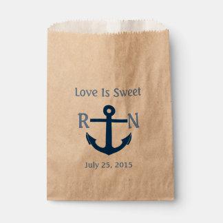 Love Is Sweet Nautical Anchor Wedding Navy Blue Favor Bag