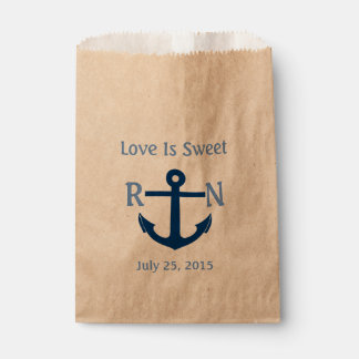 Love Is Sweet Nautical Anchor Wedding Navy Blue Favor Bags