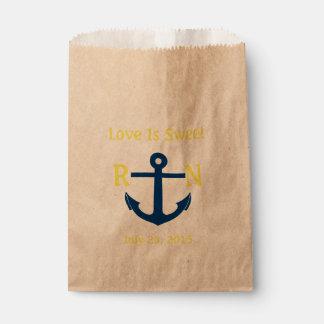 Love Is Sweet Nautical Anchor Wedding Navy Yellow Favor Bag