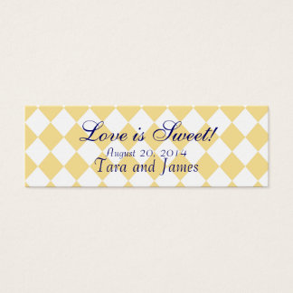 Love is Sweet Navy Yellow Wedding Favour Tag Cards